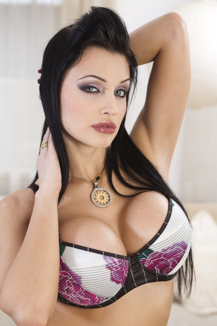 Aletta Ocean looks amazing in her cute bra with her huge tits!